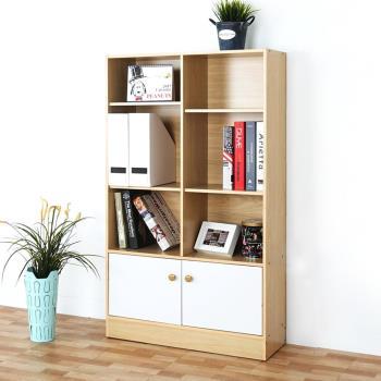 Homelike 路亞八格二門書櫃-楓木+白色