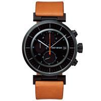 ISSEY MIYAKE 三宅一生 W系列三眼計時皮帶腕錶(黑x咖啡/43mm) VK67-0010J SILAY006Y