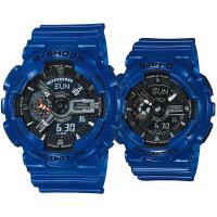 【CASIO】G-SHOCK+BABY-G 海洋之星守護對錶-海水藍 (GA-110CR-2A+BA-110CR-2A)