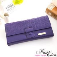 DF Flor Eden皮夾 -羊皮編織款兩折式長夾