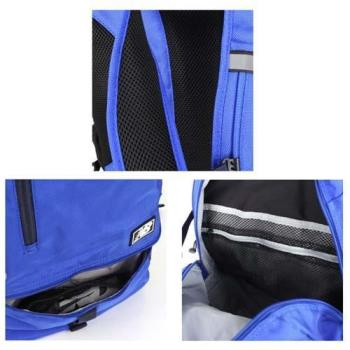 NEWBALANCE 後背包-雙肩包 電腦包 旅行包 附防水背包套 NB 寶藍銀