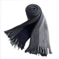 Calvin Klein 藍灰三色針織條紋圍巾