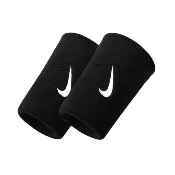 NIKE SWOOSH 單色加長腕帶-慢跑 路跑 籃球 網球 羽球 一雙入 黑白