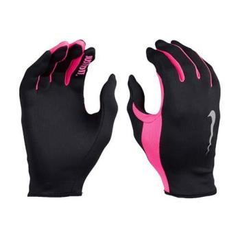 NIKE RALLY 2.0 女用跑步手套-慢跑 路跑 防曬 一雙入 黑螢光粉紅
