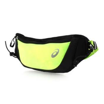 ASICS 彈性慢跑腰包-臀包 慢跑 路跑 單車 自行車 亞瑟士 螢光綠黑