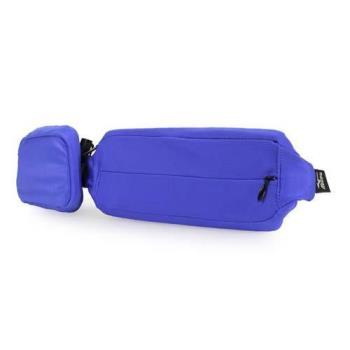 MIZUNO 腰包2PCS-附小袋 手機包 慢跑 路跑 登山 美津濃 藍螢光黃