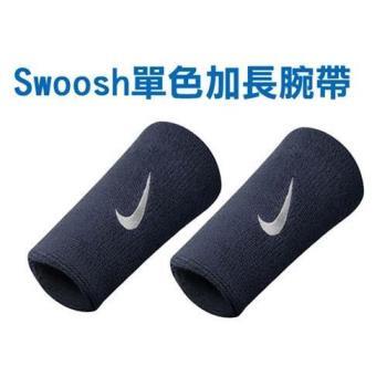 NIKE SWOOSH 單色加長腕帶-慢跑 路跑 籃球 網球 羽球 一雙入 丈青白