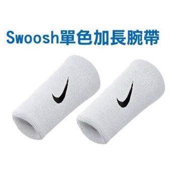 NIKE SWOOSH 單色加長腕帶-慢跑 路跑 籃球 網球 羽球 一雙入 白黑
