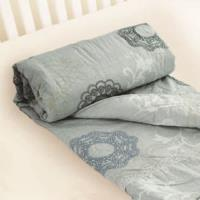 【米夢家居】台灣製造-巴洛克100%精梳純棉兩用鋪棉被套/四季被(灰)-雙人