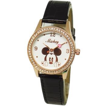 【Disney迪士尼】米奇米妮系列 玫瑰金 珠框水鑽錶 - 酷黑米奇