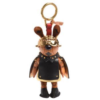 MCM Rabbit Charm小白兔鉚釘皮革斗蓬塗層帆布鑰匙圈/吊飾(黑X金)