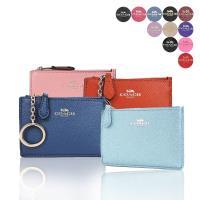 COACH 馬車素色/珠光防刮皮革後卡夾鑰匙零錢包(多色選)