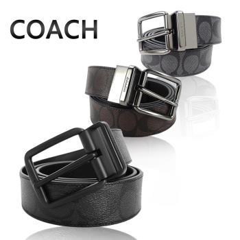 COACH 經典款 C LOGO PVC旋轉針扣雙面用男士皮帶(3色選)