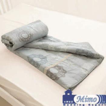 米夢家居-台灣製造-巴洛克100%精梳純棉雙面涼被(灰)(5*7尺)