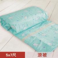 【米夢家居】台灣製造-100%精梳純棉雙面涼被5*7尺(北極熊藍綠)