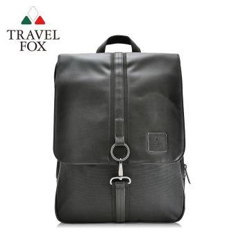 【TRAVEL FOX 旅狐】時尚皮質三層減壓電腦後背包 (TB535-01) 黑色