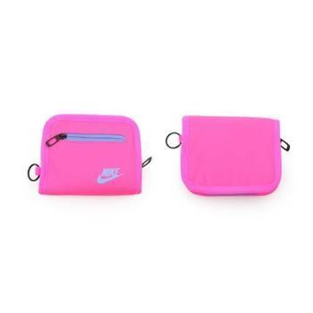 NIKE 零錢包-手拿包 收納包 錢袋 皮夾 螢光粉紫