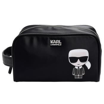 KARL LAGERFELD經典K/Ikonik系列老佛爺圖案金屬KARL標誌手提/萬用化妝包(黑)