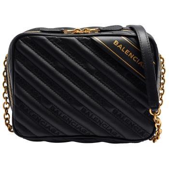 BALENCIAGA Blanket Reporter XS系列皮革金色品牌字母浮雕小牛皮拉鍊斜背包(黑)