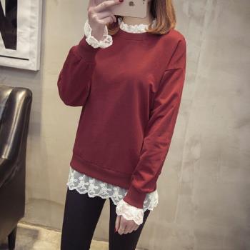 (現貨 預購 RN-girls)-【CH8051】純色蕾絲拼接長袖上衣T恤-,