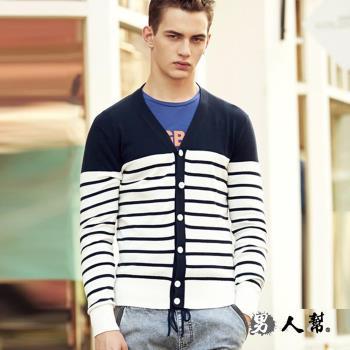 男人幫 英倫橫條紋禦寒針織外套針織開襟外套 (T5836)