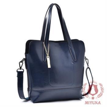 【MIYUNA 米友娜】包包Patricia典雅時尚牛皮肩提包(奢華藍)