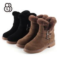 88%磨砂雪地靴短筒保暖皮帶扣側拉鏈短靴中筒靴內增高3CM