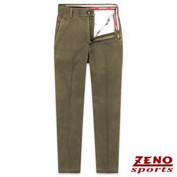 ZENO傑諾 經典彈性棉柔無摺休閒長褲‧咖啡色