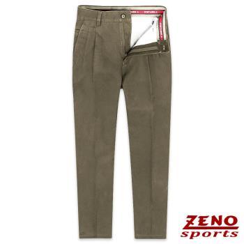 ZENO傑諾 經典彈性棉柔打摺休閒長褲‧咖啡色
