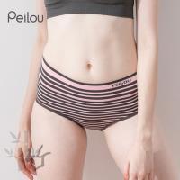 任-【PEILOU】貝柔竹炭抗菌條紋中腰三角褲-淺粉