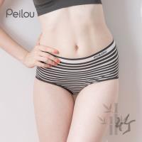 任-【PEILOU】貝柔竹炭抗菌條紋中腰三角褲-白