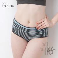 任-【PEILOU】貝柔竹炭抗菌條紋中腰三角褲-水藍