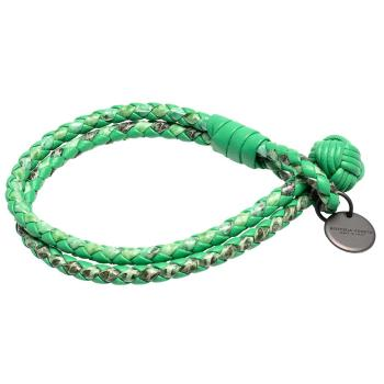 BOTTEGA VENETA 經典編織水蛇皮和羊皮雙繩手環(M-愛爾蘭綠)