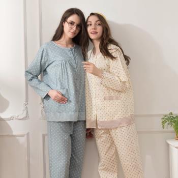 [MFN蜜芬儂]條紋圓點棉質薄長袖睡衣2套組-型(網)