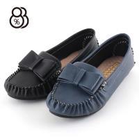 88%MIT台灣製俏皮可愛大蝴蝶結莫卡辛乳膠鞋墊豆豆鞋娃娃鞋
