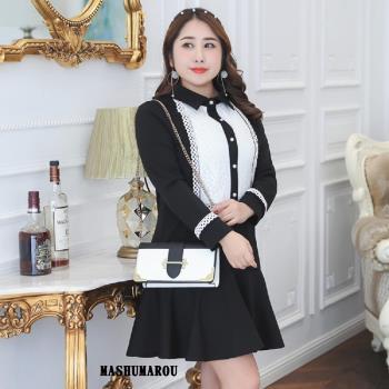 (現貨+預購 RN-girls)-[MA0985] -加大尺碼小香風蕾絲拼接長袖洋裝小禮服