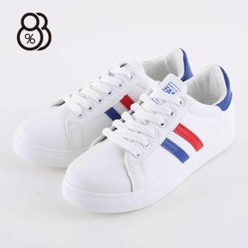 88%圓頭小白鞋綁帶韓版休閒板鞋平底鞋學生運動鞋休閒鞋
