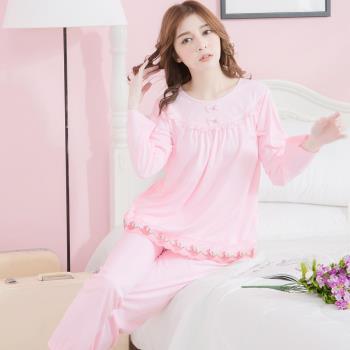 lingling日系 蝶結繡花網紗牛奶絲長袖二件式睡衣組(共二色)全尺碼