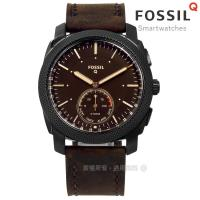 FOSSIL Q / FTW1163 / Q Machine 指針式智慧藍芽鬧鈴防水真皮手錶 深咖啡x黑框 45mm