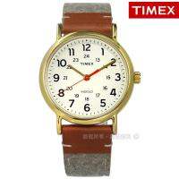 TIMEX 天美時 / TXTW2R42100 / INDIGLO 週末系列專利冷光照明毛呢拼接真皮手錶 米白x金框x卡其灰 38mm