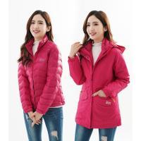 【遊遍天下】女款二件式防風透濕長版+無縫JIS90拒水羽絨外套(玫紅)