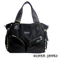 任-Diana Janes 尼龍帆布配牛皮花朵造型兩用包