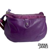 任-Diana Janes 尼龍帆布配皮打摺包-紫
