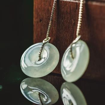 品澐珠寶[CJ0126] 現貨 緬甸玉 天然A貨翡翠 平安扣耳環