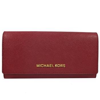 MICHAEL KORS 經典LOGO防刮皮革扣式零錢長夾.紅