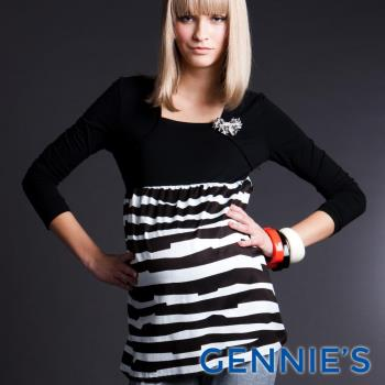 【Gennies專櫃】010系列-時尚斑馬紋拼接上衣洋裝(T3245)