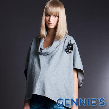 【Gennies專櫃】010系列-翻領垂墜飛鼠袖百搭棉質上衣(T3240)-灰色