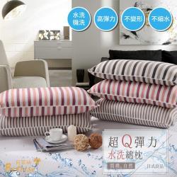 【Betrise】睡眠品質--超Q彈力抗菌水洗綿水洗枕(超值買一送一)