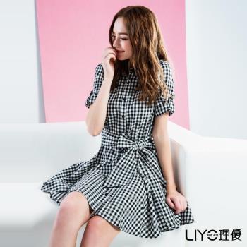 LIYO理優 格紋綁帶襯衫洋裝-附本布腰帶 516009