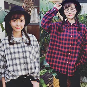KW韓國.  F現貨學院風氣質格紋寬鬆襯衫